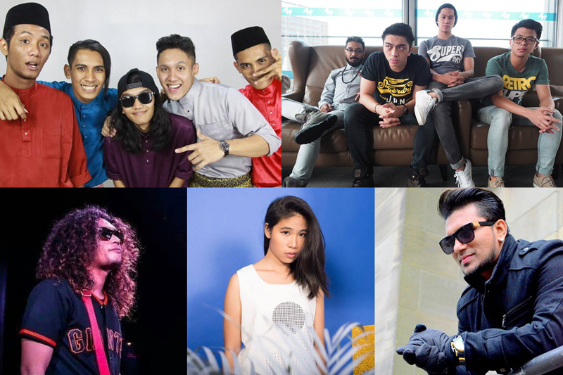 Clockwise from top left: Sekumpulan Orang Gila, GTXperiment , Rabbit Mac, bittymacbeth and Roshan Jamrock are among the nominees for the 2016 Vima Music Awards. — Picture by TheHive.Asia