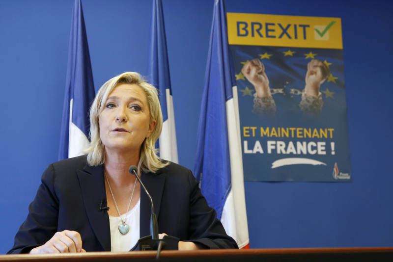 Marine Le Pen, France's far-right National Front political party leader, speaks during a news conference at the FN party headquarters in Nanterre near Paris after Britain's referendum vote to leave the European Union, France, June 24, 2016. — Reuter