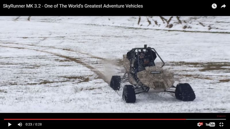 The SkyRunner MK 3.2 all-terrain vehicle certified as a light aircraft by the US Federal Aviation Administration. — Screen grab off YouTube video