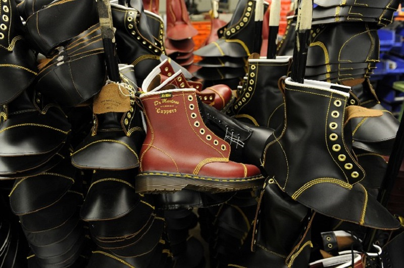 Dr Martens boots are pictured in the Dr Martens factory in Wellingborough, Northamptonshire, in central England in this file picture. — AFP pic