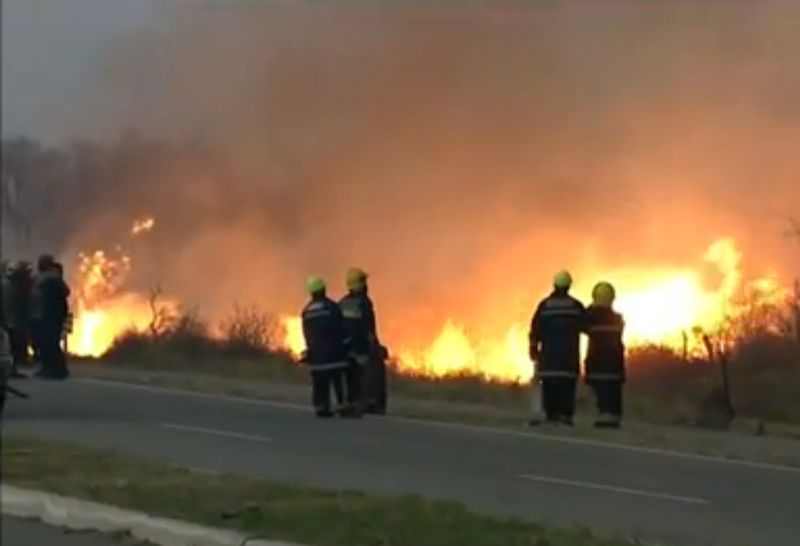 Image of fires raging in central Argentina from the Reuters video.