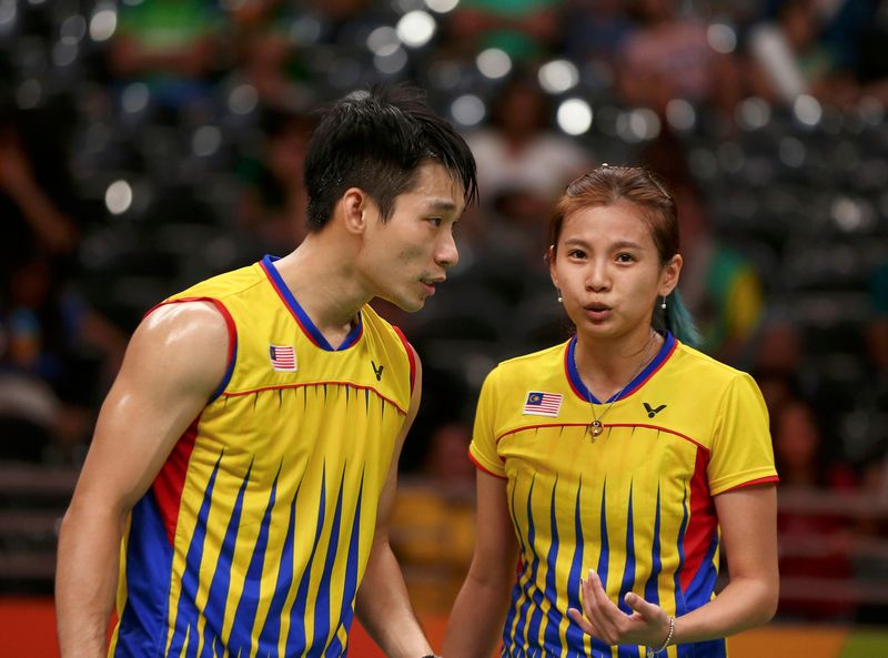 Chan Peng Soon and Goh Liu Ying (right) talk after winning their Olympic mixed doubles semifinals at Riocentro Pavilion 4, Rio de Janeiro August 15, 2016. — Reuters pic
