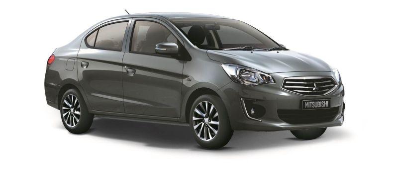 The Mitsubishi Attrage eco sedan with cash rebates up to RM12,000.