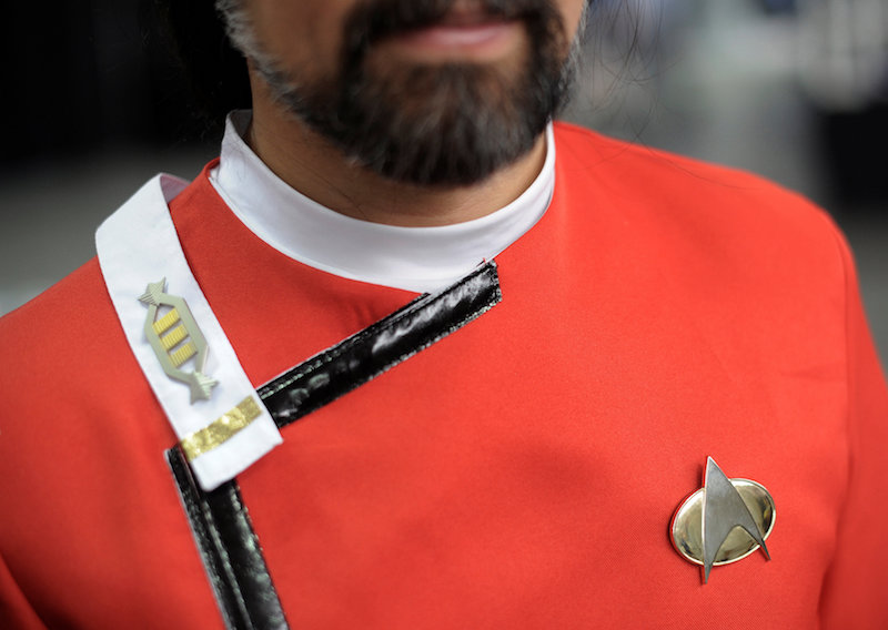 A man's 'Star Trek' uniform is seen at the 'Star Trek: Mission New York' convention in New York September 2, 2016. — Reuters pic