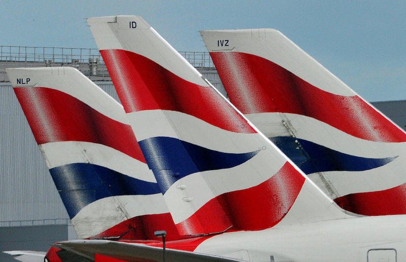 File photo of British Airways logos seen on tailfins at Heathrow Airport in west London May 12, 2011. — Reuters pic