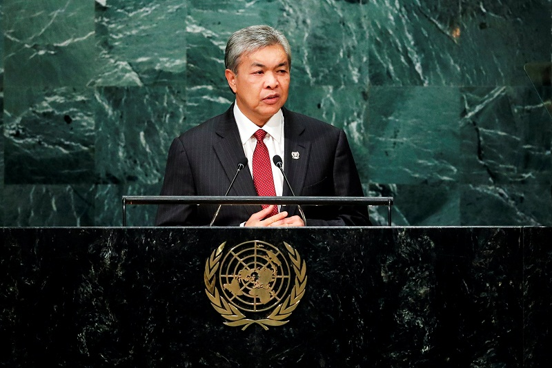 File picture of Deputy Prime Minister Datuk Seri Ahmad Zahid Hamidi addressing the United Nations General Assembly in the Manhattan borough of New York. Picture released September 25, 2016. — Reuters pic