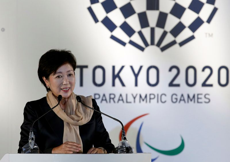 Tokyo governor Yuriko Koike delivers a speech during the Olympic and Paralympic flag-raising ceremony at Tokyo Metropolitan Government Building in Tokyo September 21, 2016. — Reuters pic