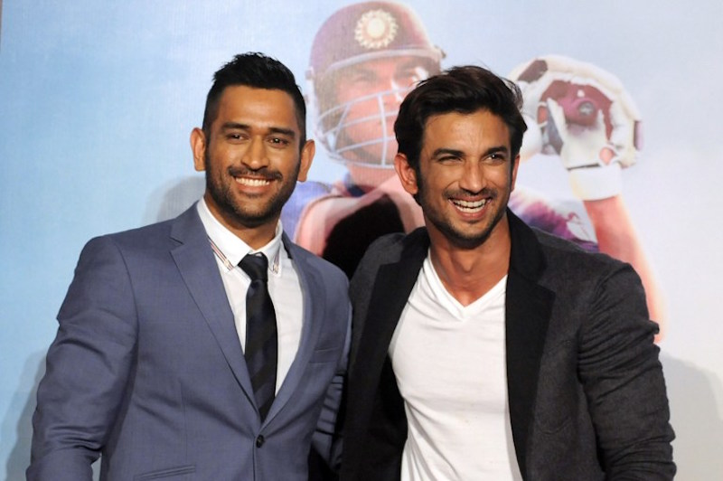 Sushant Singh Rajput and Indian cricket captain Mahendra Singh Dhoni pose during the trailer launch of the upcoming biographical film 'MS Dhoni: The Untold Story' in Mumbai in this file picture taken on August 11, 2016. — AFP pic