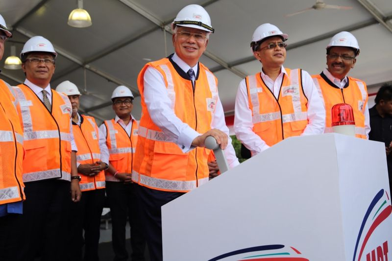 Prime Minister Datuk Seri Najib Razak (centre) at MRT line groundbreaking at the SSP Line worksite near Putrajaya Sentral, Putrajaya September 15, 2016. — Picture by Choo Choy May