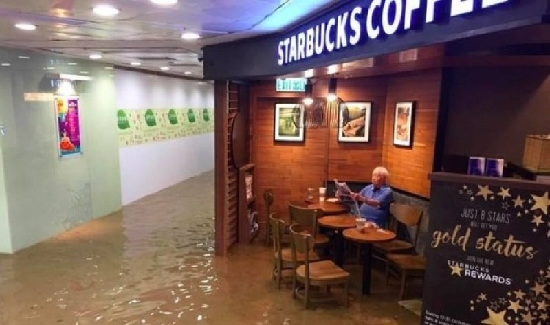 Think you had a bad day? Just chill like Hong Kong's 'Starbucks Uncle'. — Picture via Facebook.com/TVMost