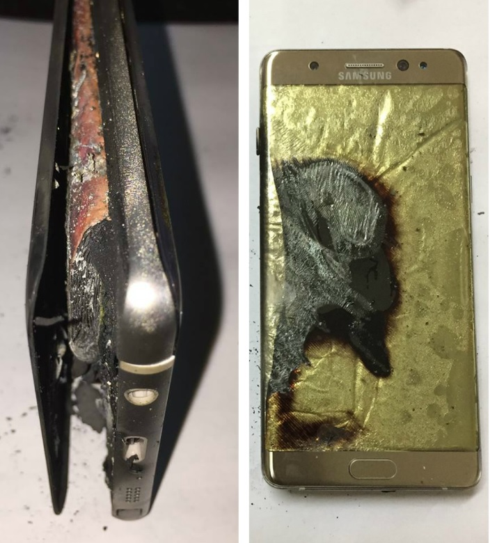 Images of the burned Samsung Galaxy Note 7 posted by Ng on Facebook.