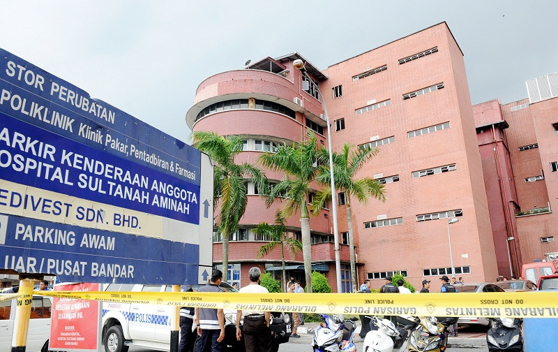 File picture of the south block of the Sultanah Aminah Hospital where a fire broke out. — Bernama pic