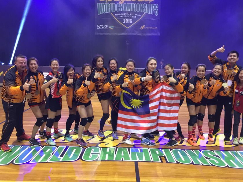 Malaysian female dodgeball team defeated Canada 6-5 at the recent World Dodgeball Championship to win gold. — Picture courtesy of the Malaysia Association of Dodgeball