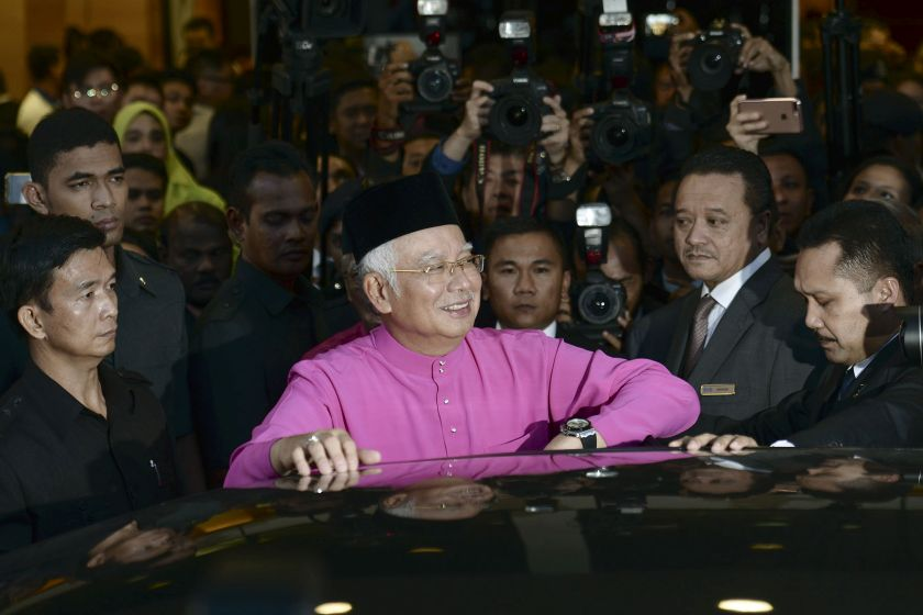 Prime Minister Datuk Seri Najib Razak is pictured leaving Parliament after the tabling of Budget 2017. — Picture by Yusof Mat Isa