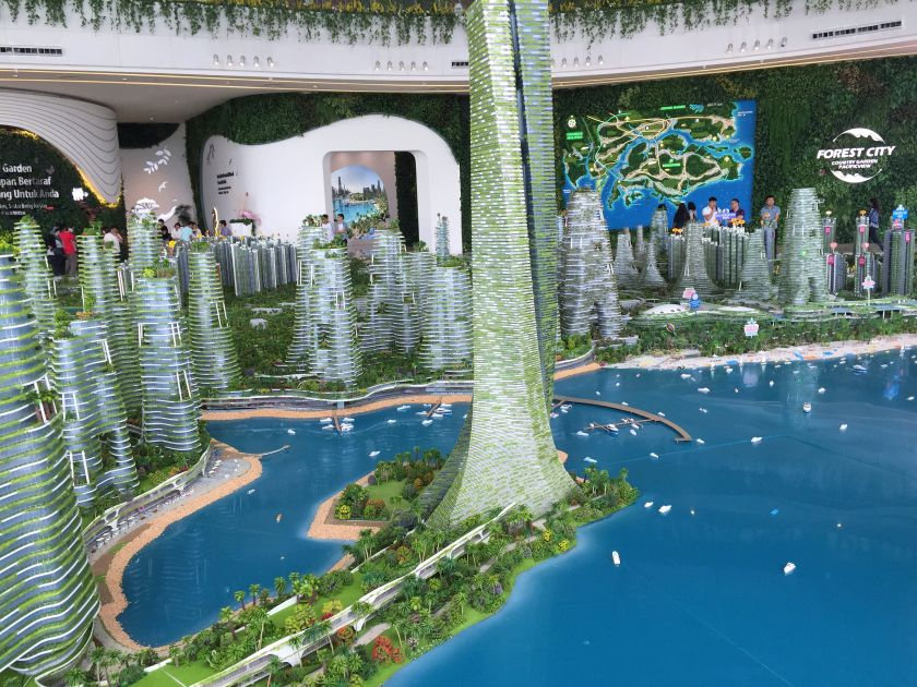 A model of the RM441.6 billion development project is displayed at Country Garden's show village in Forest City, Johor. — Picture by Zurairi AR