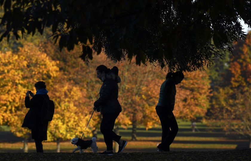 Walkers pass near autumn foliage early morning in Hyde Park in London November 3, 2016. — Reuters pic