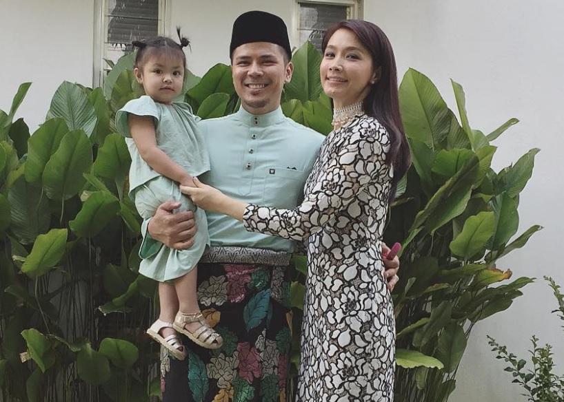 Lara Alana (left) pictured here with her parents Awal Ashaari and Scha Alyahya. — Photo courtesy of Instagram/Scha Alyahya