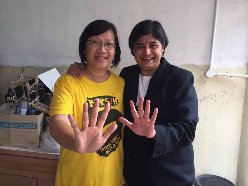 Ambiga shared this photo with Maria, after the Bersih 2.0 chairman was released today, on her official Twitter feed.