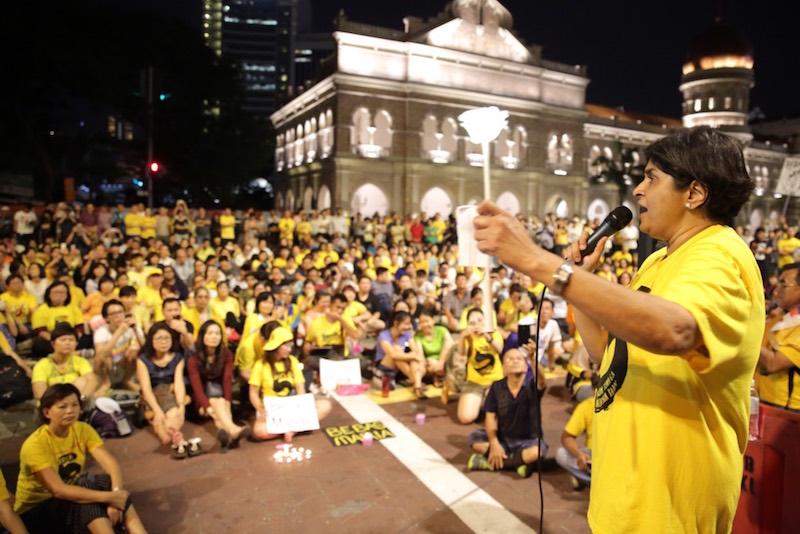Datuk Ambiga Sreenevasan speaks during a candlelight vigil for Maria Chin Abdullah in Dataran Merdeka, Kuala Lumpur, November 22, 2016. — Picture by Choo Choy May