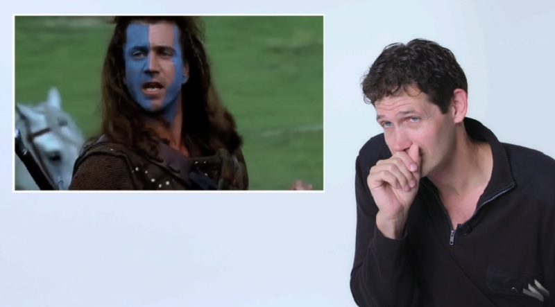 Singer (right) analyses Mel Gibson's Scottish accent in 'Braveheart'.