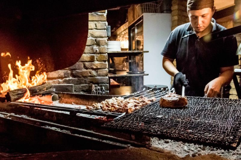 Steak and skewers are cooked at Line Brew.