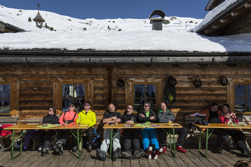 Skiers relax at Dikt'n Alm restaurant and bar at Obertauern in Austria, March 20, 2016. — Picture by Andreas Meichsner/The New York Times