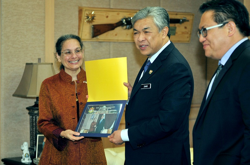 Malaysian student enrolment at US colleges and universities has risen 5.3 per cent during the 2016/2017 academic year. File picture shows US Ambassador to Malaysia Kamala Shirin Lakhdhir posing for a picture with Deputy Prime Minister Datuk Seri Ahmad Zahid Hamidi at his office in Putrajaya January 27, 2017. — Reuters pic