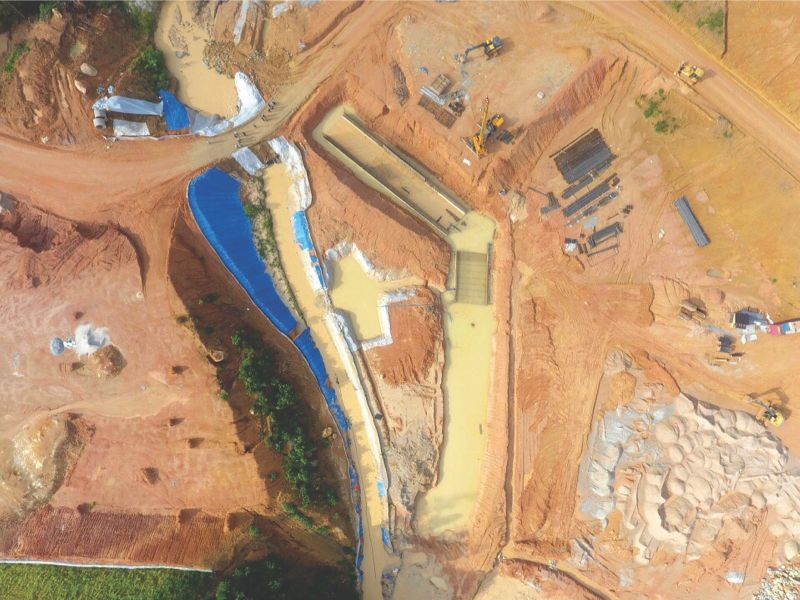 Drone picture in Hulu Langat captures the construction site of the East Klang Valley Expressway, identified as having resulted in murky water in Sungai Langat which in turn caused water disruptions over the weekend. — Picture by Luas