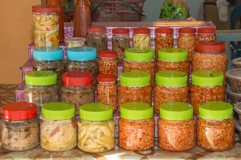 'Tuhau' in pickle form are sold at Sabah's roadside stalls and 'tamus.' — Picture by Murphy Ng