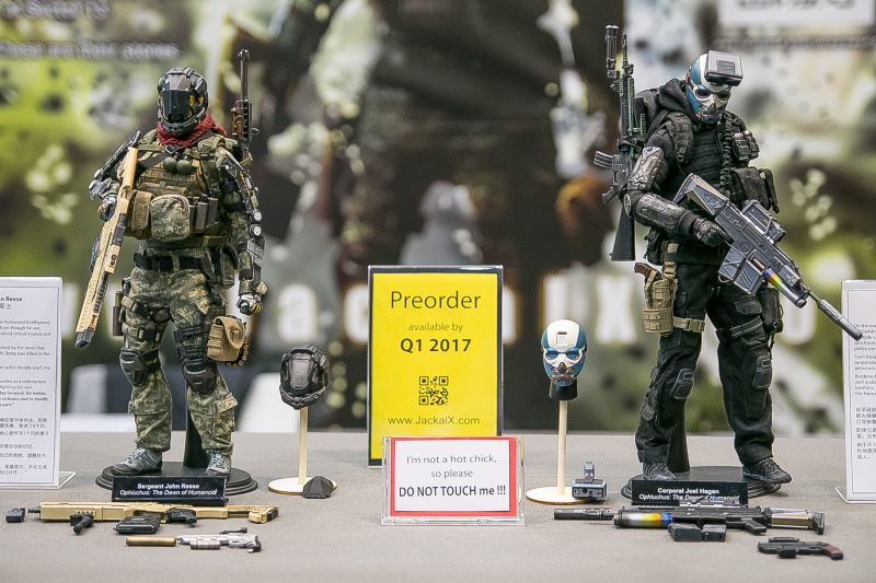 Both the John Reese and Joel Hagan prototypes are displayed during Hong Kong's ToySoul convention last year. ― Picture courtesy of Jackal X