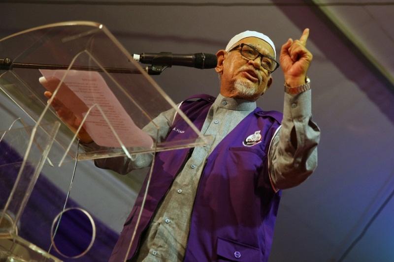 PAS president Datuk Seri Abdul Hadi Awang speaks at the Himpunan 355 rally in Kuala Lumpur February 18, 2017. — Picture by Saw Siow Feng