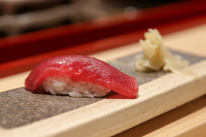 Bluefin tuna nigiri sushi is one of the items available at Sushi Azabu. — Picture by Choo Choy May