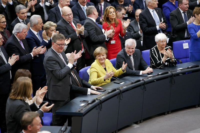 German Chancellor Angela Merkel reacts before the first round of voting during the German presidential election at the Reichstag in Berlin, February 12, 2017. — Reuters pic