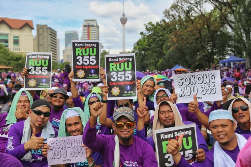 PAs supporters are seen at Padang Merbok during the PAS-led Himpunan 355 rally in Kuala Lumpur February 18, 2017. — Picture by Saw Siow Feng