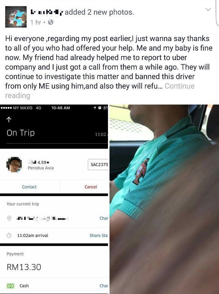 According to a screen grab posted by the victim, the driver used a Perodua Axia and has been rated 4.59 out of a total five stars on the ride sharing app.