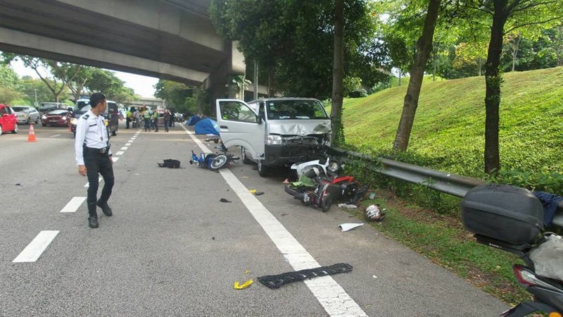 The van that was involved in the accident on the BKE, Singapore, March 11, 2017. — Rock Kapak/Facebook pic via Facebook
