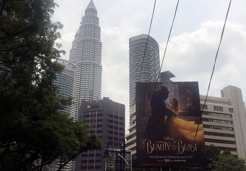 A 'Beauty and the Beast' poster in downtown Kuala Lumpur March 14, 2017. — Reuters pic