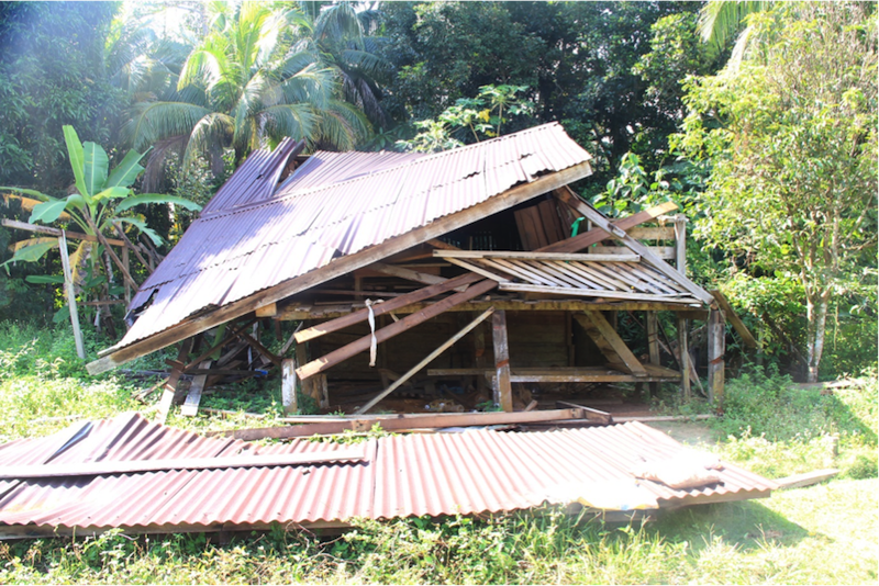 One of the demolished homes that the Sabah Forestry Department claims was unoccupied, but villagers say was their home. Some 16 buildings were demolished and 60 people affected. — Picture courtesy of Human Rights Commission of Malaysia, Sabah branch