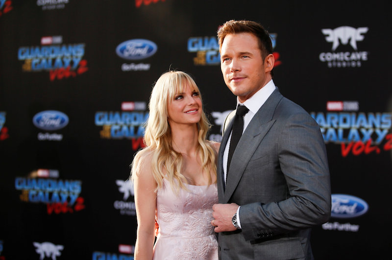 Chris Pratt and wife Anna Faris pose at the world premiere of Marvel Studios' 'Guardians of the Galaxy Vol. 2.' in Hollywood April 19, 2017. — Reuters pic