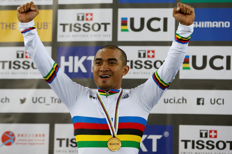Mohd Azizulhasni Awang celebrates after winning his first world title at the Track Cycling World  Championships in Hong Kong April 13, 2017. — Reuters pic