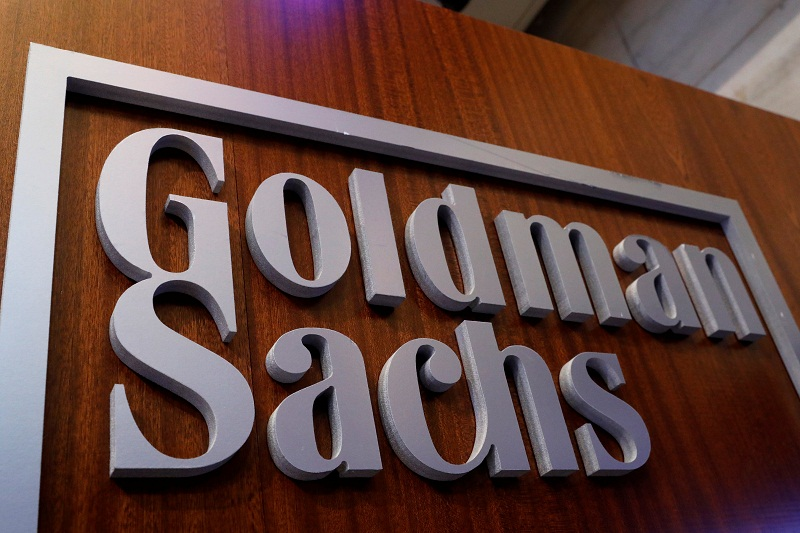 A Goldman Sachs sign displayed inside the company's post on the floor of the New York Stock Exchange in New York April 18, 2017. — Reuters pic