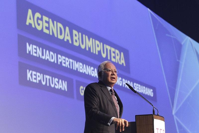 Prime Minister Datuk Seri Najib Razak speaks during the Bumiputera 2.0 Economic Transformation event in Kuala Lumpur April 19, 2017. — Picture by Yusof Mat Isa