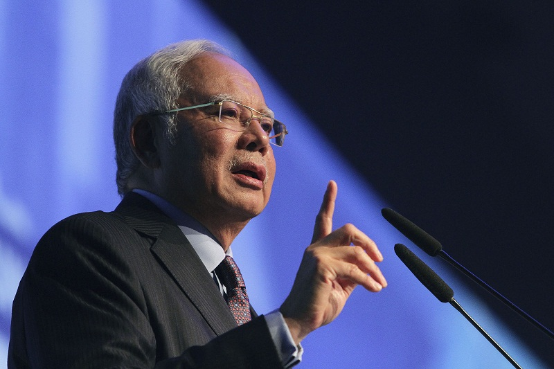 Public transportation development was stunted during the Mahathir administration because of the obsession with building up the national car company, Proton, said Datuk Seri Najib Razak. — Picture by Yusof Mat Isa
