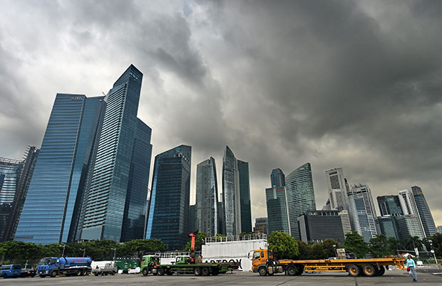 The Singapore city skyline as seen in this picture taken on April 25, 2017... it looks like the only way to go is up! — Picture from AFP
