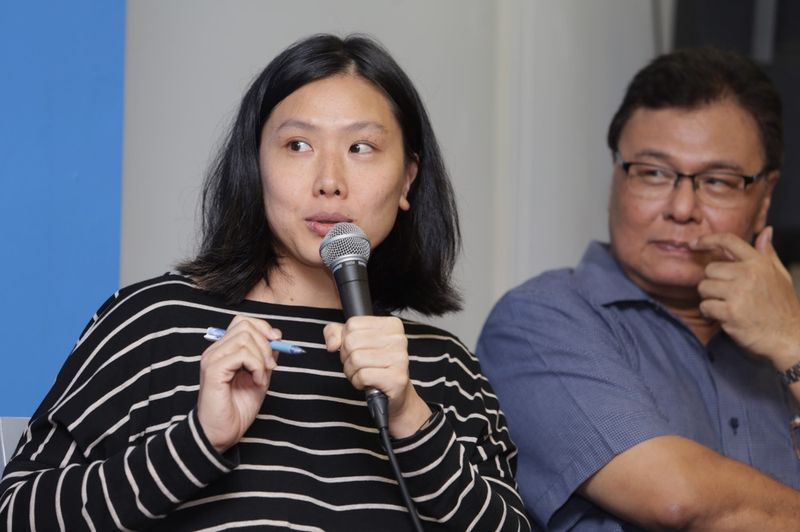Independent filmmaker Tan Chui Mui speaking during the forum on the future of cinema and censorship in Malaysia.