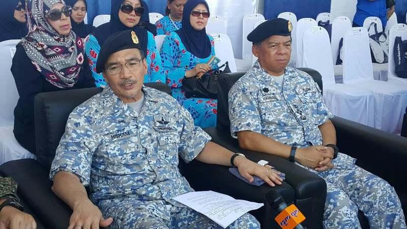 Hishammuddin speaks to reporters after attending the 83rd Royal Malaysian Navy anniversary at the Sepanggar naval base in Kota Kinabalu April 27, 2017.