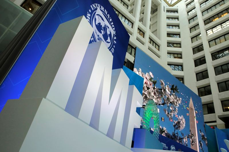 The International Monetary Fund logo is seen during the IMF/World Bank spring meetings in Washington April 21, 2017. — Reuters pic