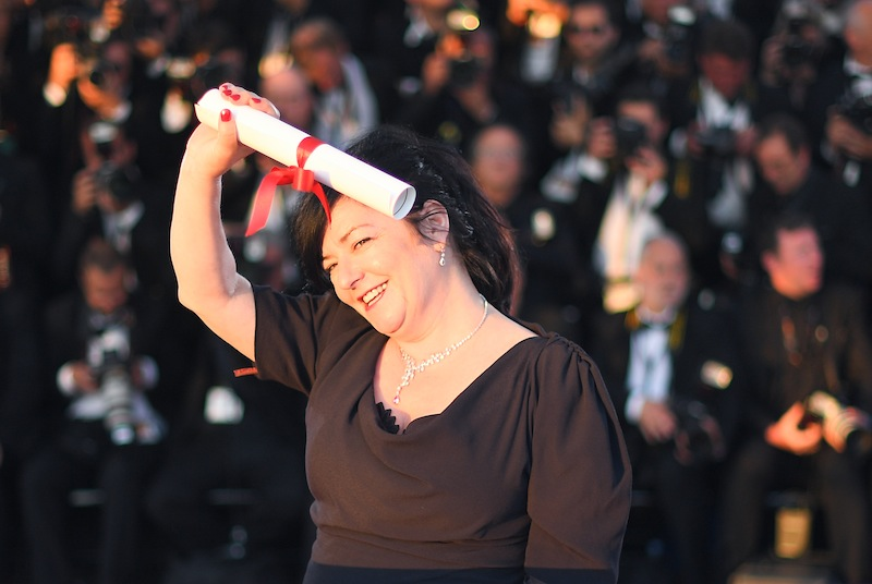 British director Lynne Ramsay poses on May 28, 2017 during a photocall after she co-won the Best Screenplay prize for the film 'You Were Never Really Here',  May 28, 2017. — AFP pic