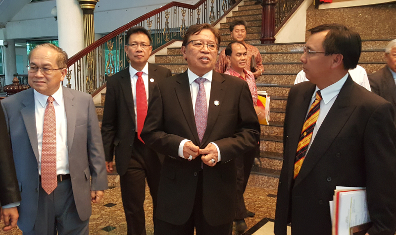 Sarawak Chief Minister Datuk Amar Abang Johari Openg (centre) says hopefully the abolition of the cabotage policy will help reduce costs of consumer goods in Sarawak May 7, 2017. — Picture by Sulok Tawie
