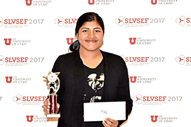 Tanisha after winning the grand prize at the Salt Lake Valley Science & Engineering Fair in Utah. — Picture by Malay Mail